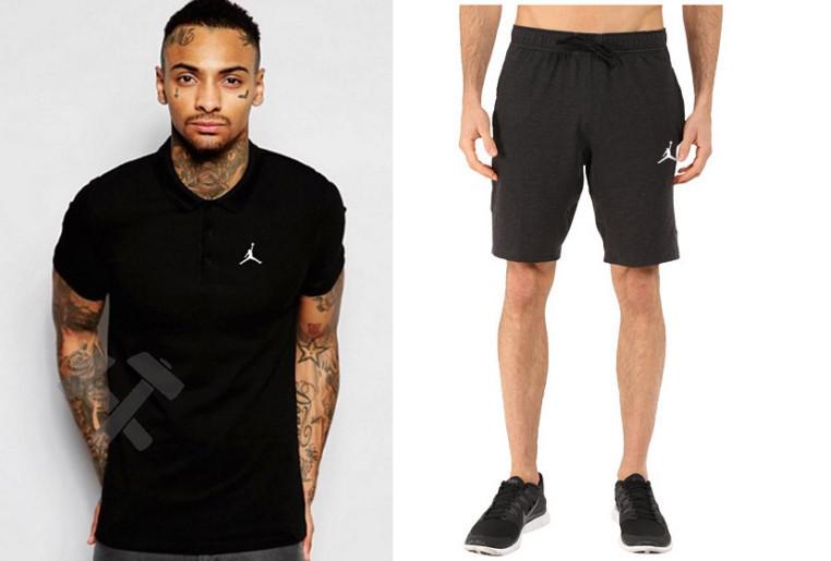 Мужской комплект поло + шорты Jordan черного цвета
