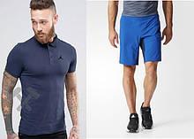 Мужской комплект поло + шорты Jordan синего и голубого цвета