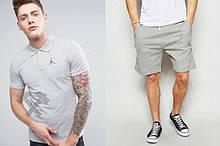 Мужской комплект поло + шорты Jordan серого цвета