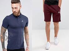Мужской комплект поло + шорты Jordan синего и красного цвета