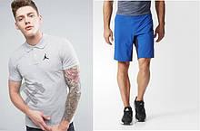 Мужской комплект поло + шорты Jordan серого и голубого цвета