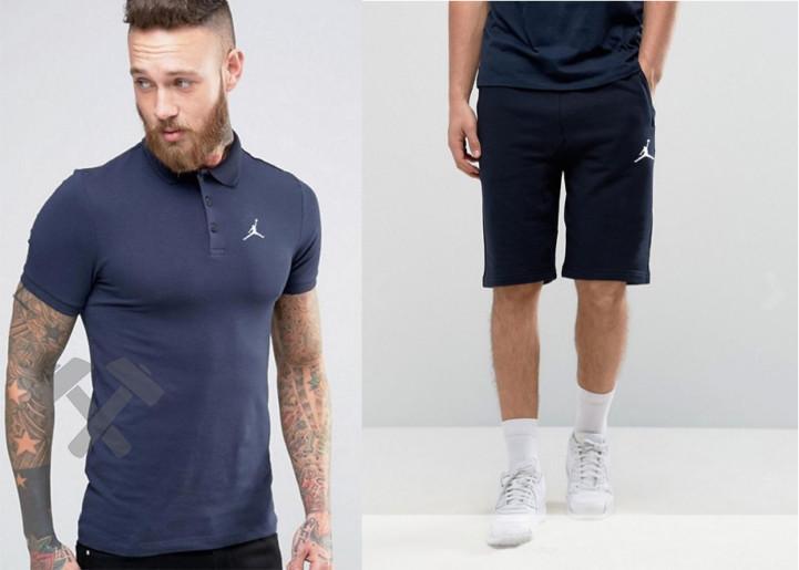 Мужской комплект поло + шорты Jordan синего цвета
