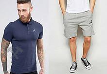 Мужской комплект поло + шорты Jordan синего и серого цвета