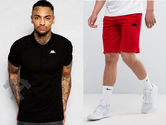 Мужской комплект поло + шорты Kappa черного и красного цвета