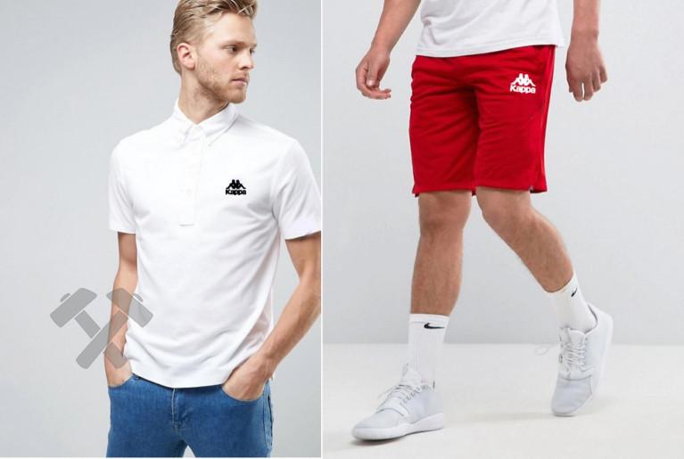 Мужской комплект поло + шорты Kappa серого и красного цвета