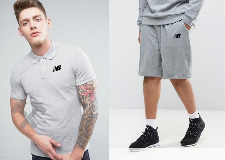 Мужской комплект поло + шорты NEW Balance серого цвета