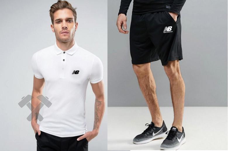 Чоловічий комплект поло + шорти NEW Balance білого і чорного кольору