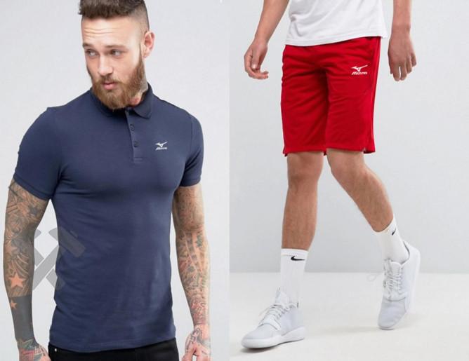Мужской комплект поло + шорты mizuno синего и красного цвета