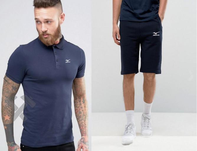 Мужской комплект поло + шорты mizuno синего цвета
