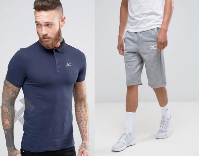 Мужской комплект поло + шорты mizuno синего и серого цвета