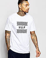 Футболка мужская белаяв стиле HUF Checkerboard