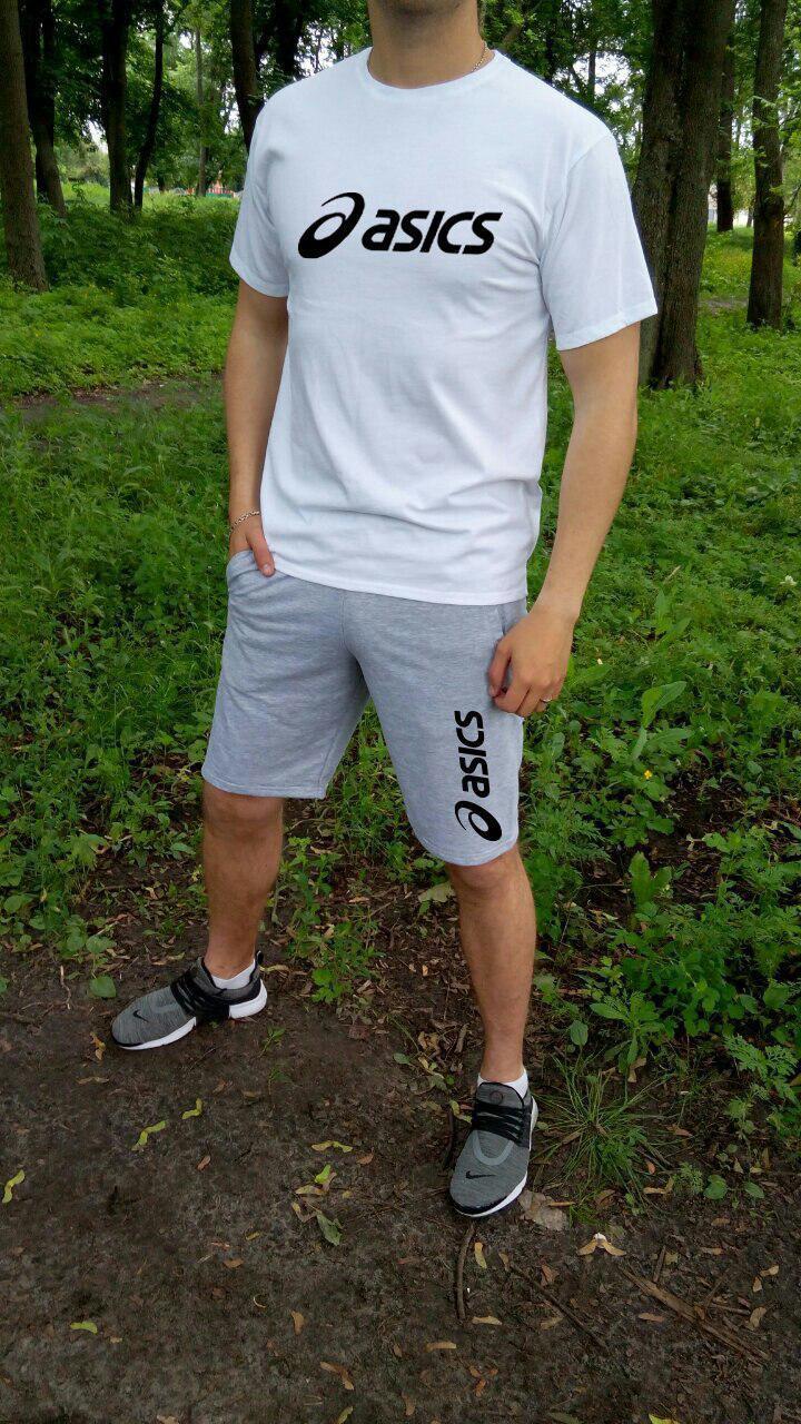 Мужской комплект футболка + шорты Asics белого и серого цвета