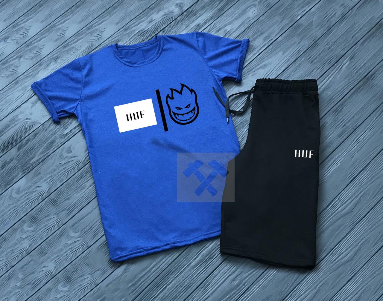 Мужской комплект футболка + шортыв стиле HUF синего и черного цвета