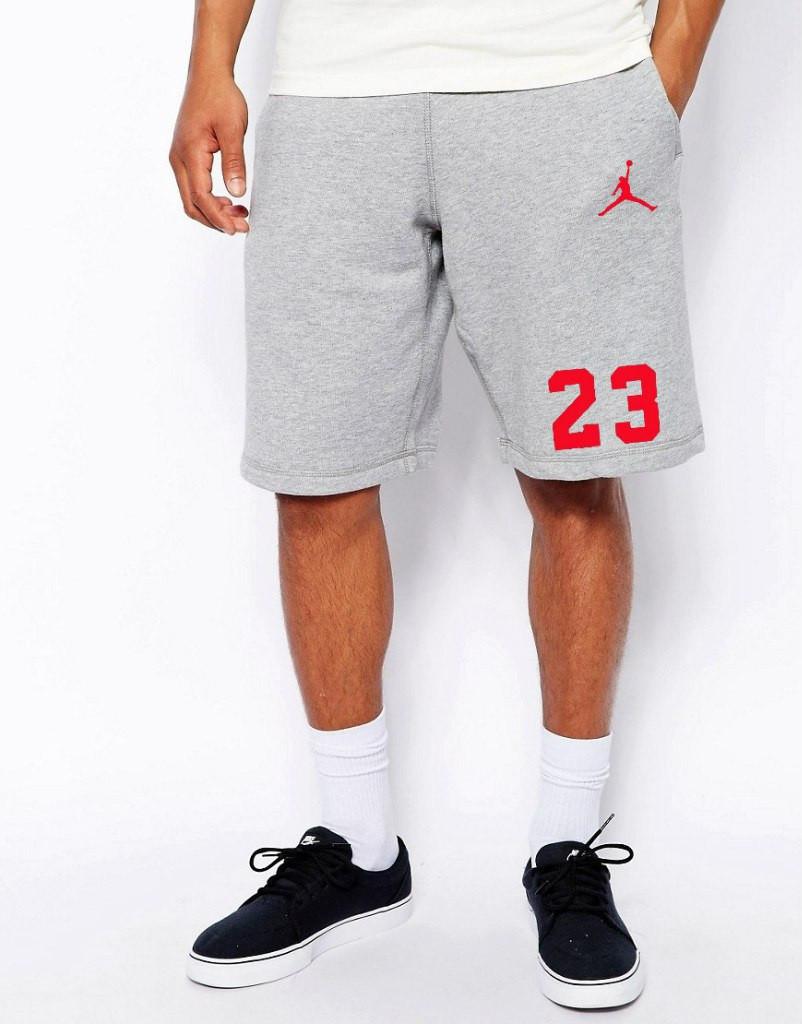 Шорты Jordan ( Джордан ) серые 23+значёк красный