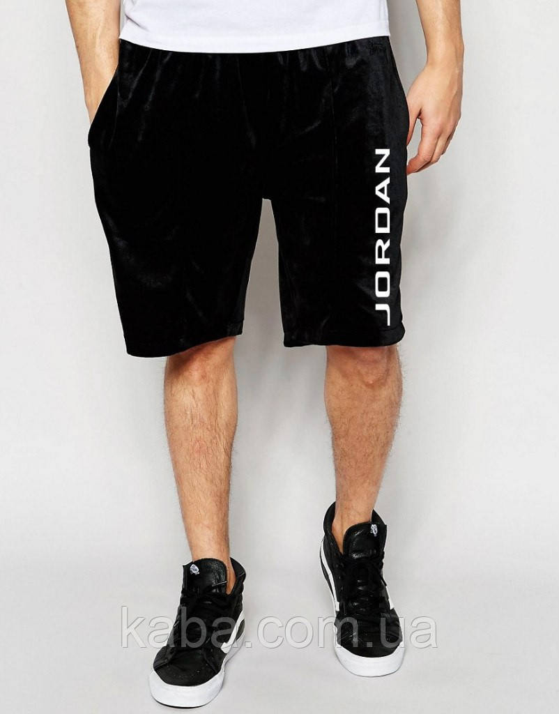 Шорты Jordan ( Джордан ) чёрные вертикальный принт белый