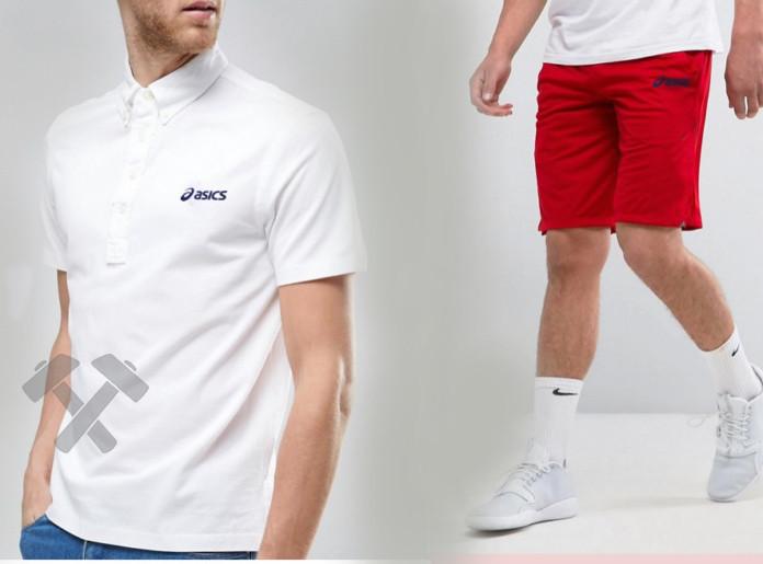 Чоловічий комплект поло + шорти Asics білого та червоного кольору