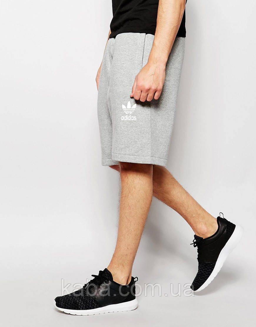 Шорты мужские Adidas ( Адидас ) серые старый значек белый