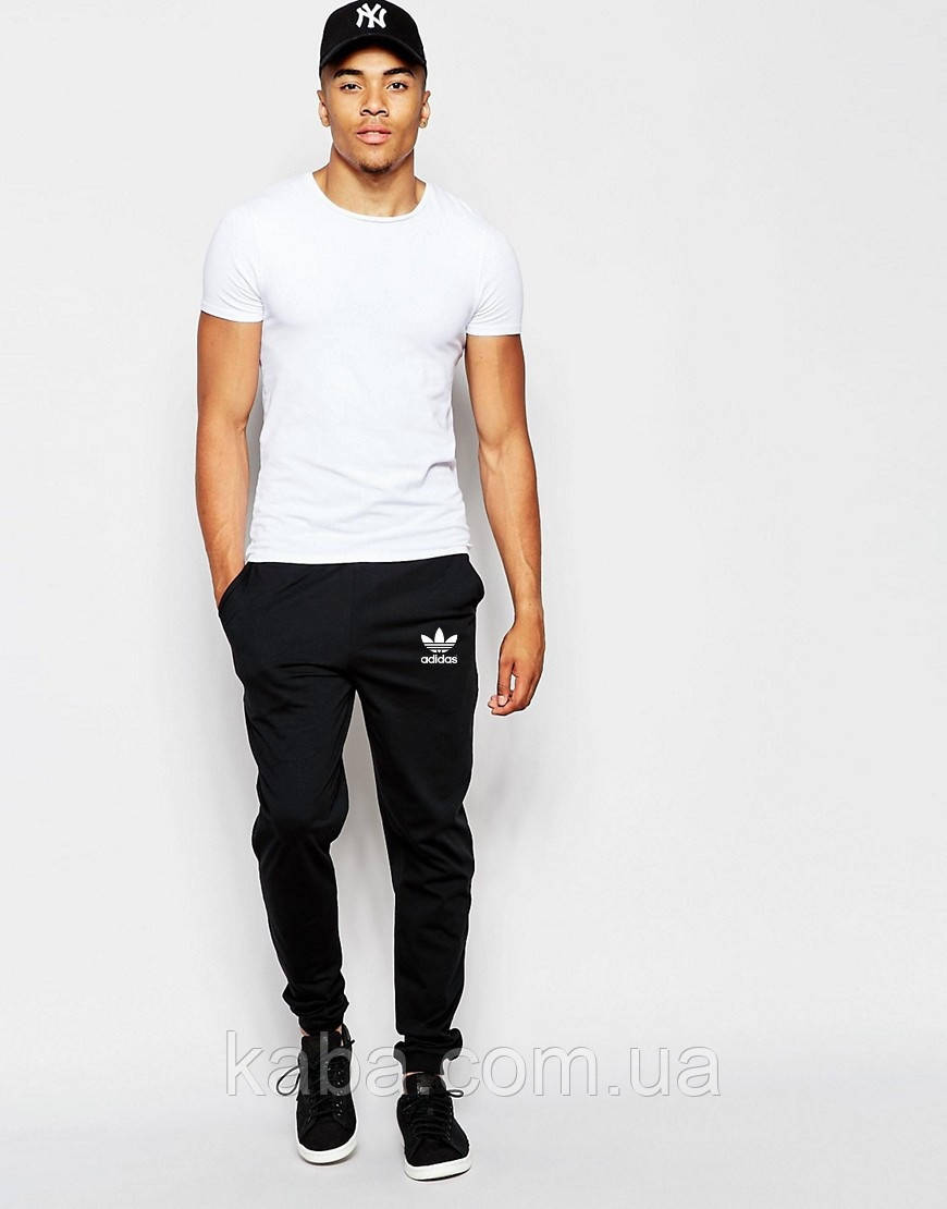 Мужские спортивные штаны Adidas | Адидас чёрные старый значёк белый