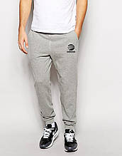 Мужские спортивные штаны Adidas | Адидас серые лого+имя чёрные