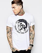 Мужская Футболка белая Diesel T-Shirt T-Ulysse Mowhawk Print