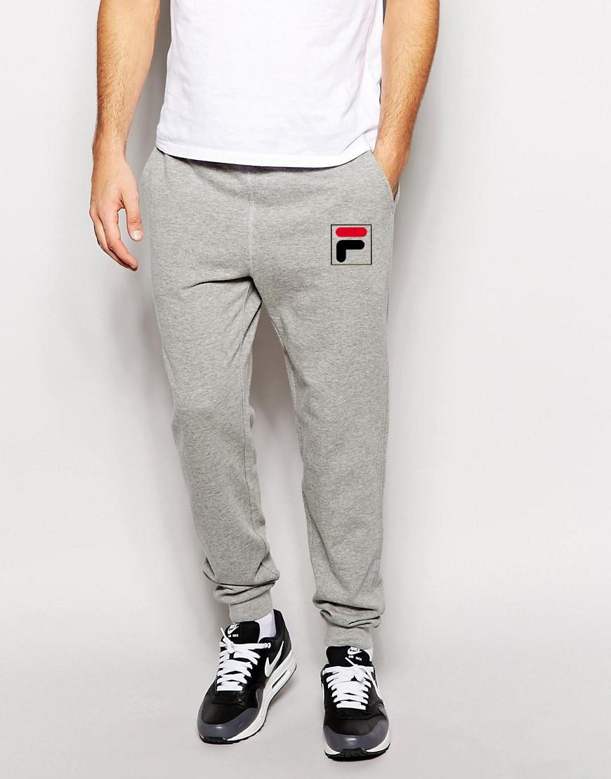 Мужские спортивные штаны FILA | Фила серые лого F