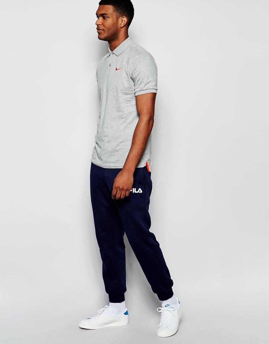 Мужские спортивные штаны FILA | Фила синие белый принт