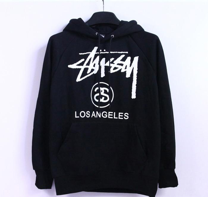 Худи Stussy Los Angeles черное с логотипом, унисекс (мужское, женское, детское)