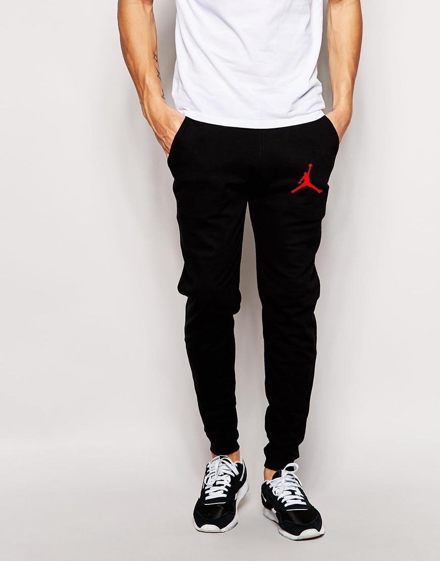 Мужские спортивные штаны Jordan | Джордан Спортивные чёрные красный значёк