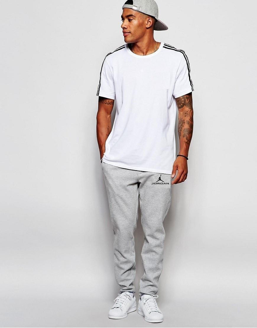 Мужские спортивные штаны Jordan | Джордан Спортивные серые значёк+имя чёрные