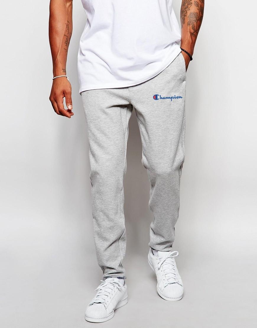 Мужские спортивные штаныв стиле Champion   Чемпион серые имя