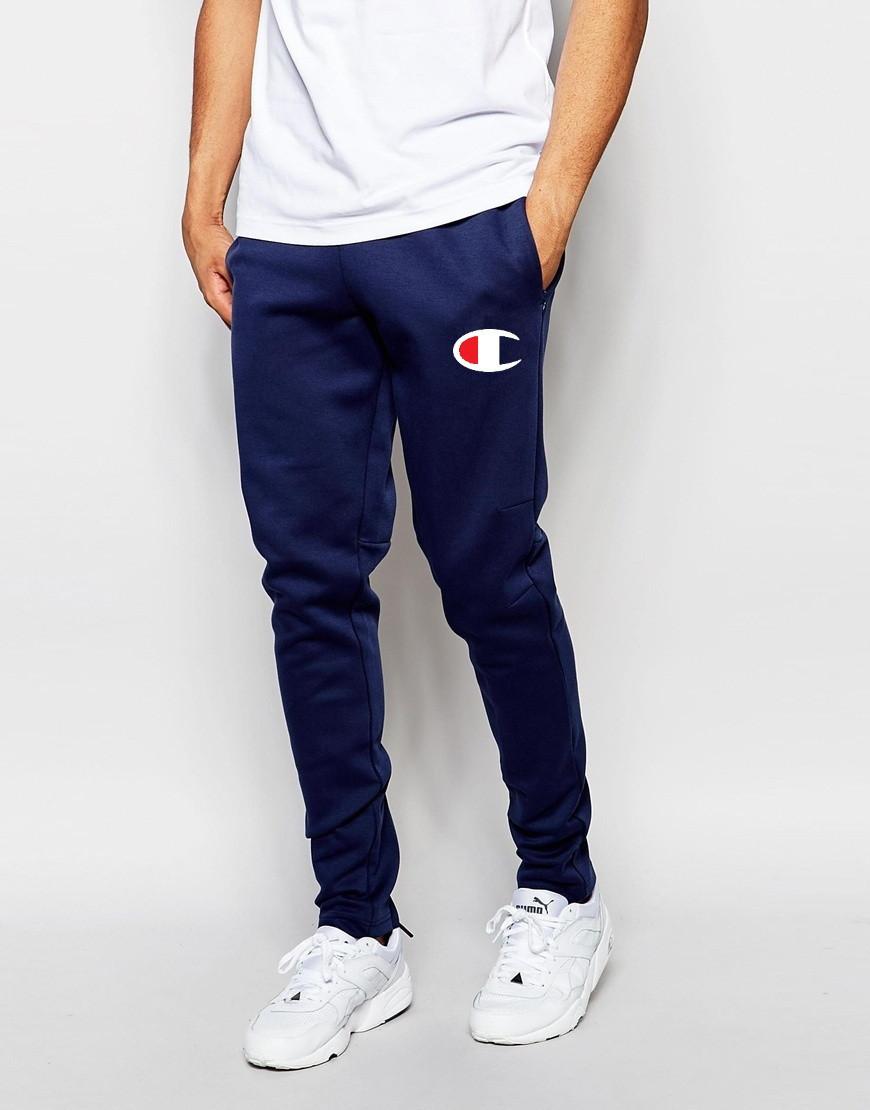 Мужские спортивные штаныв стиле Champion | Чемпион синие лого