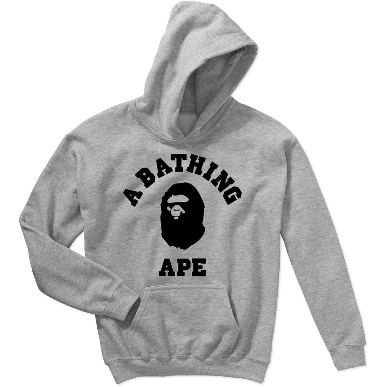 Худи BAPE A Bathing Ape серое с логотипом, унисекс (мужское, женское, детское)
