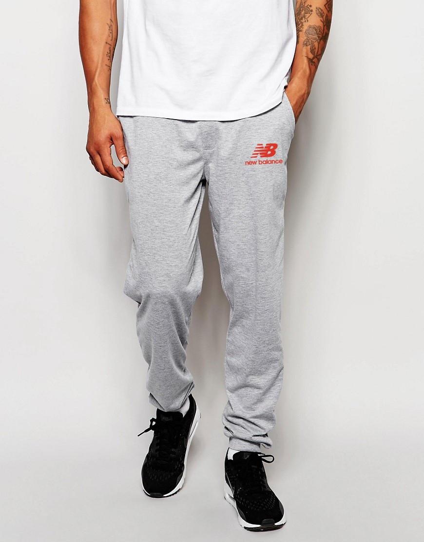 Мужские спортивные штаны NEW Balance   Нью Беланс серые лого красный