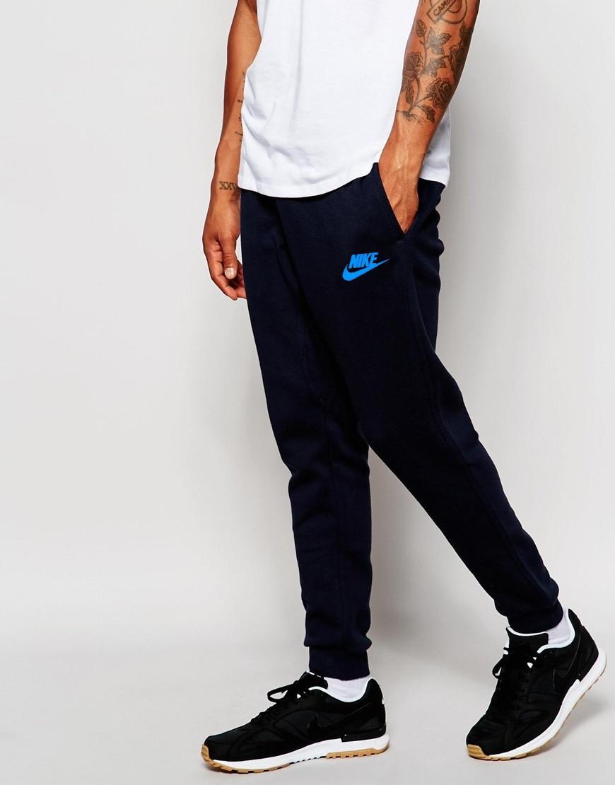 Мужские спортивные штаны Nike | Найк чёрные имя+галочка голубой принт