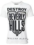 Біла Футболка чоловіча PHILIPP PLEIN destroy Beverly Hills, фото 2