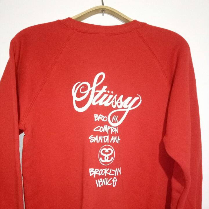 Свитшот красный мужской STUSSY ( Стасси ) Logo | Кофта