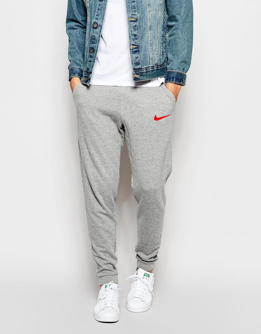 Мужские спортивные штаны Nike   Найк серые галочка красный принт
