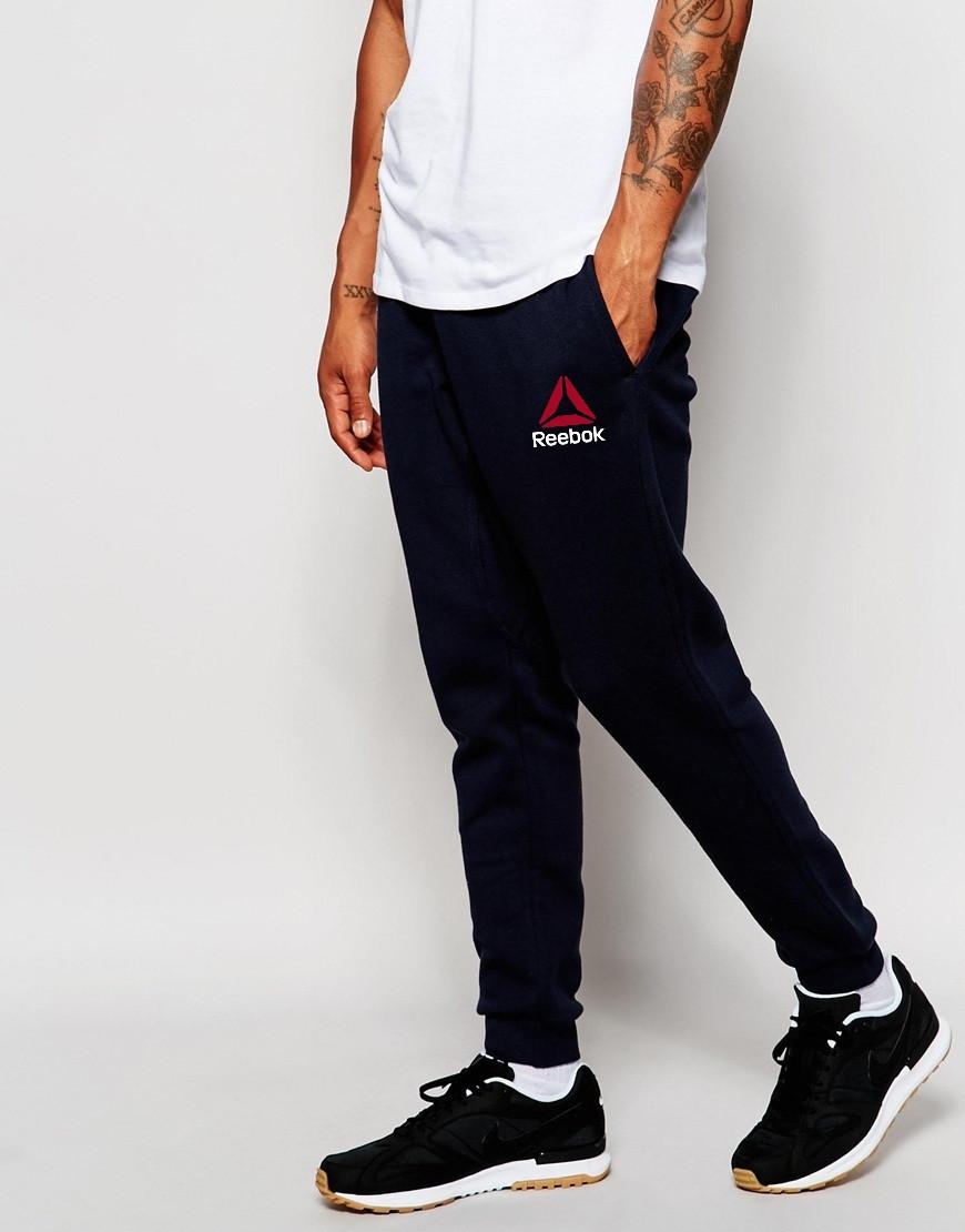 Мужские спортивные штаны REEBOK | Рибок чёрные значёк+имя