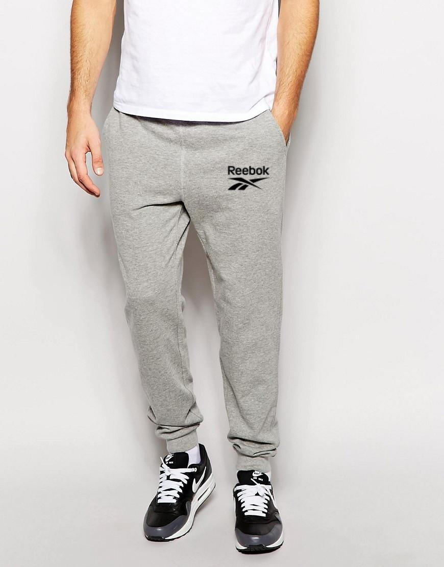 Мужские спортивные штаны REEBOK | Рибок серые чёрный лого