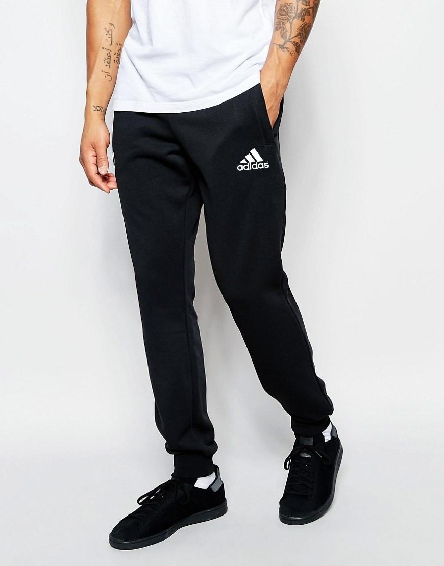 Мужские спортивные штаны Adidas   Адидас чёрные белый значёк