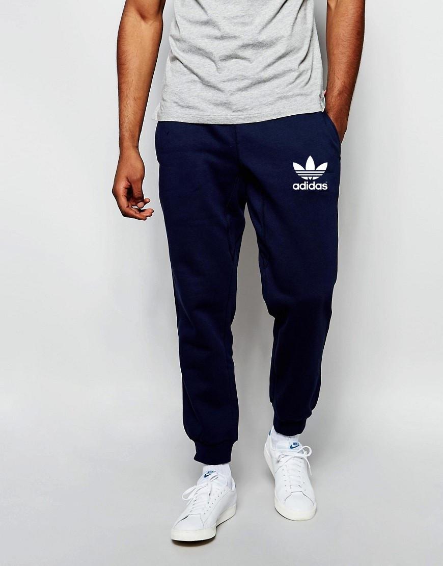 Мужские спортивные штаны Adidas | Адидас синие белый значёк старый