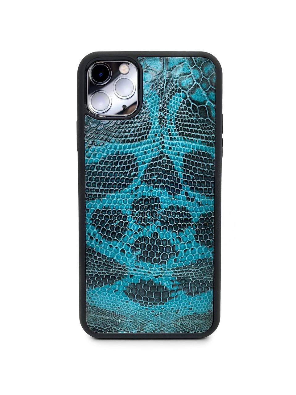 Чехол для iPhone 11 Pro Max бирюзового цвета из кожи Игуаны