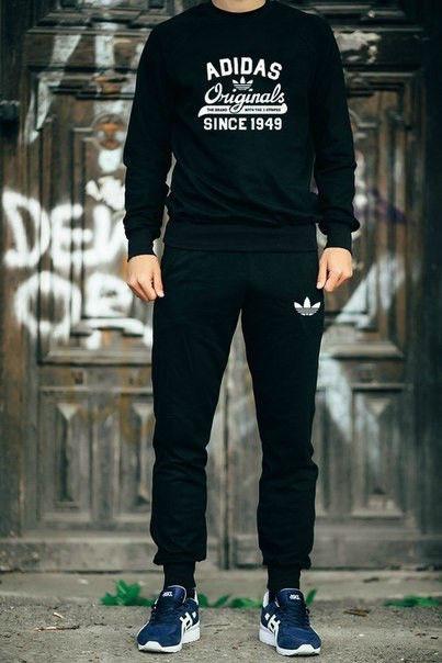 Мужской черный спортивный костюм Adidas 1972