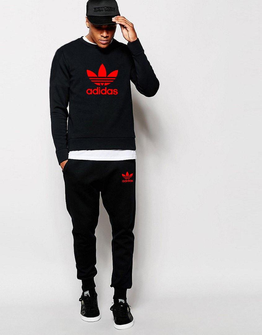Мужской черный спортивный костюм Adidas ( красное лого)