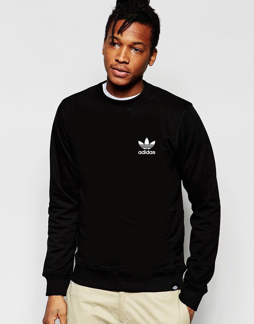 Свитшот чёрный Adidas ( Адидас ) мелкое лого