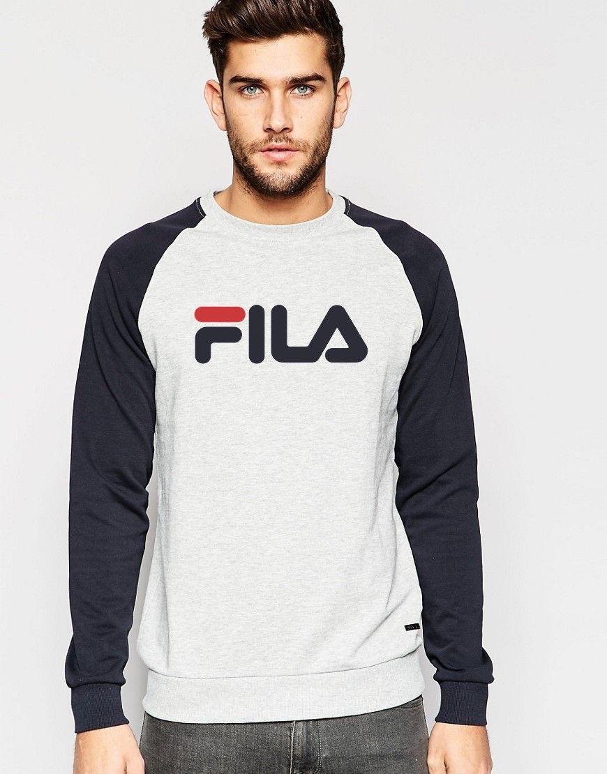 Свитшот комбов стиле FILA ( Фила ) ( большое лого ) ( Серый )