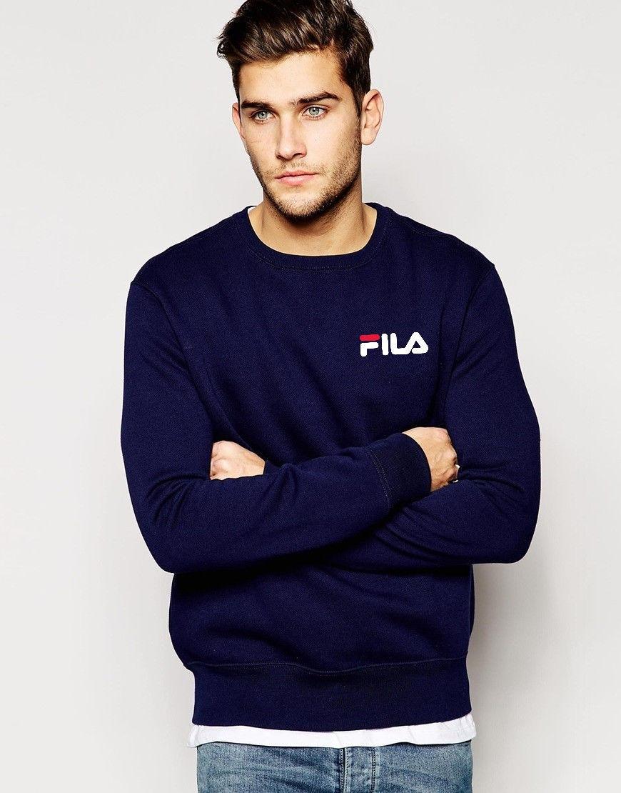 Свитшот синийв стиле FILA ( Фила ) ( мелкий лого )