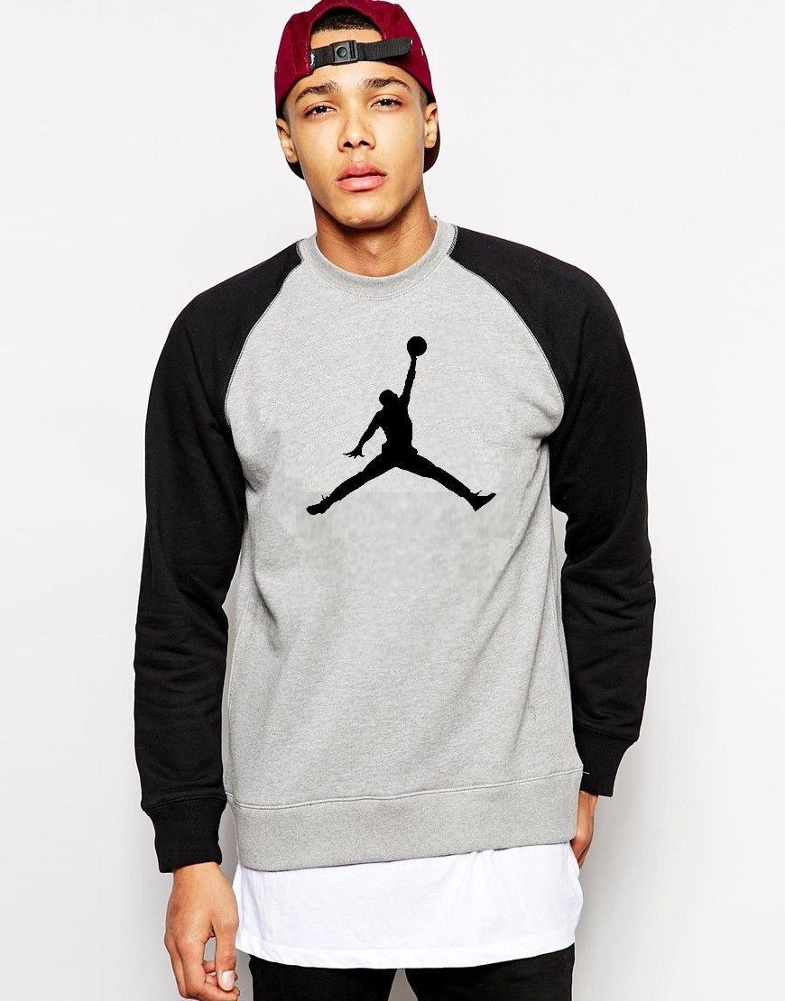 Свитшот комбо Jordan ( Джордан ) ( большое лого ) ( Серый )