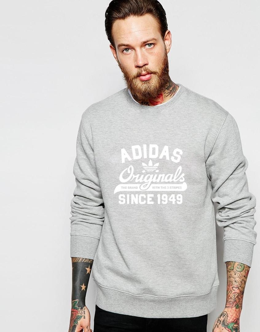 Свитшот серый Adidas ( Адидас ) Original ( цветной принт )