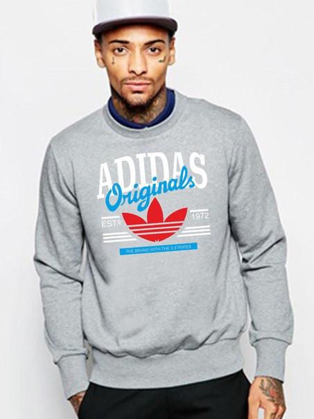 Свитшот серый Adidas ( Адидас ) Original ( цветное лого )
